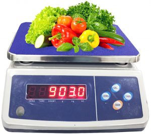 Table as a weight scale measuring weight