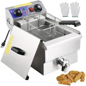 Electric Fryer Timer and Drain Stainless Steel