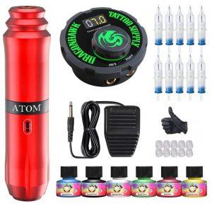 Rotary Tattoo Machine Kit with Power Supply
